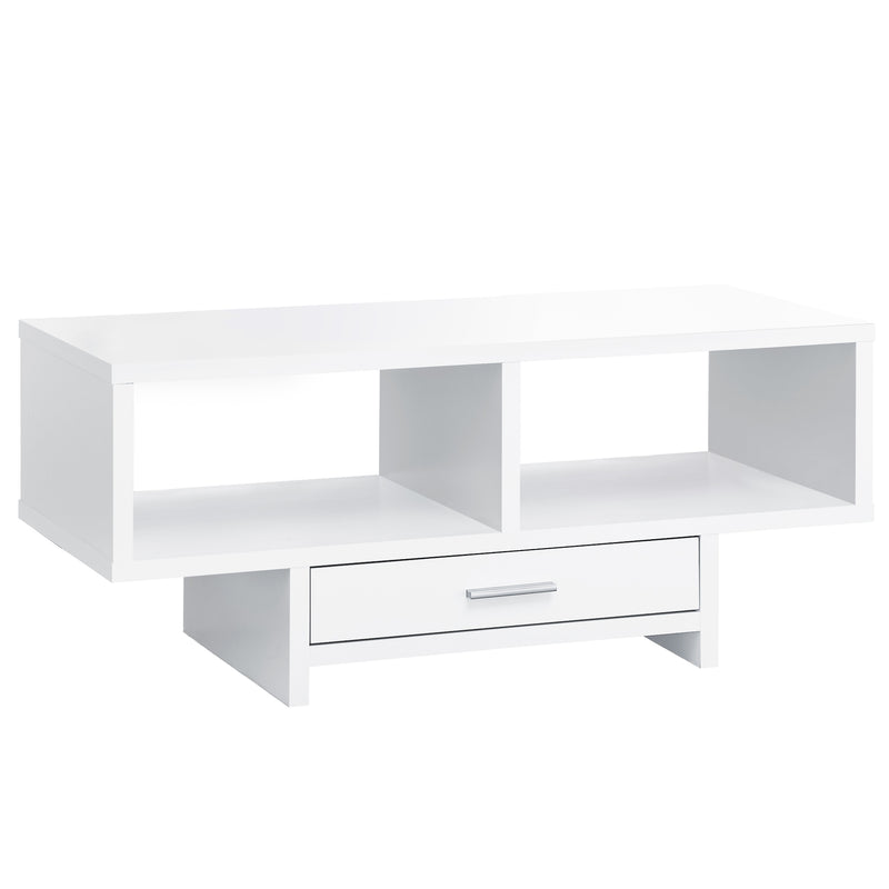 "17.75"" x 42.25"" x 18"" White Storage Coffee Table"
