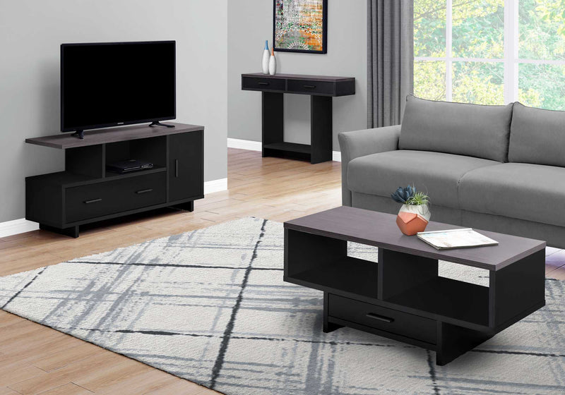 "17.75"" x 42.25"" x 18"" BlackGrey Top With Storage Coffee Table"