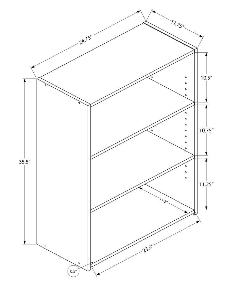 "11.75"" x 24.75"" x 35.5"" Cherry 3 Shelves Bookcase"