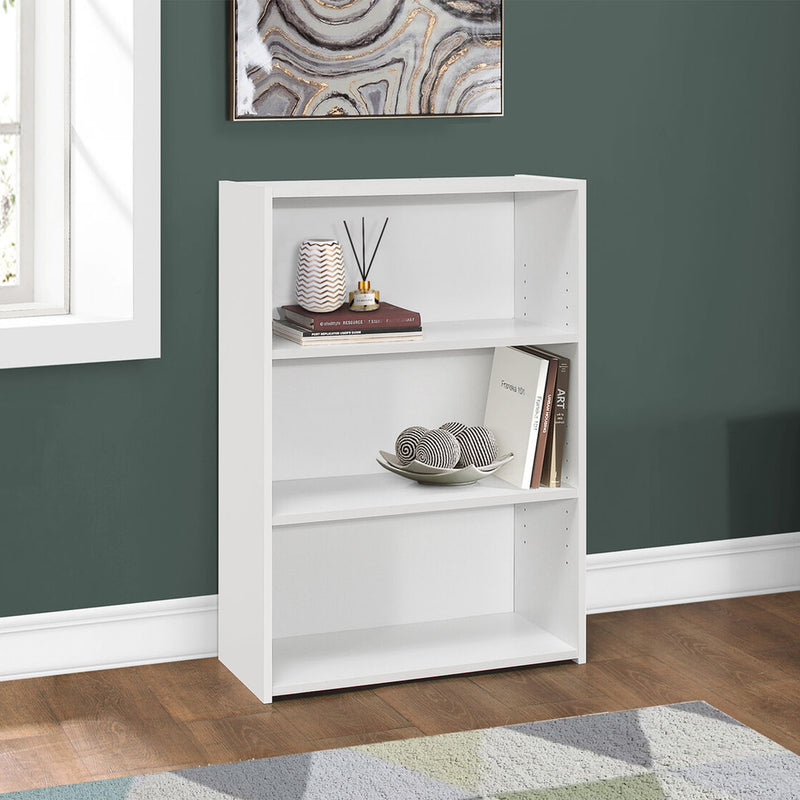 "11.75"" x 24.75"" x 35.5"" White 3 Shelves Bookcase"