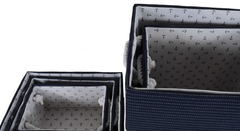"13.5"" x 17"" x 22.5"" Blue Fabric Basket With Bow Decoration Set of 5 - RichRange 