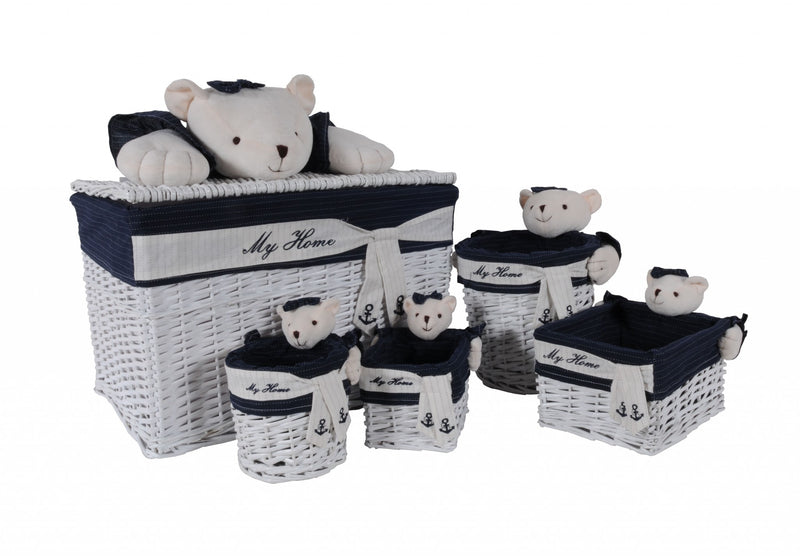 "15.5"" x 23.5"" x 22"" WhiteBlueRectangularBear Design Basket Set of 5 - RichRange 