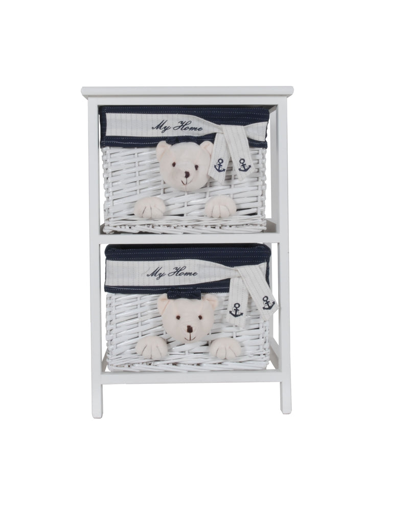 "12.5"" x 16"" x 25"" White Blue Portable 2 Drawers - RichRange 