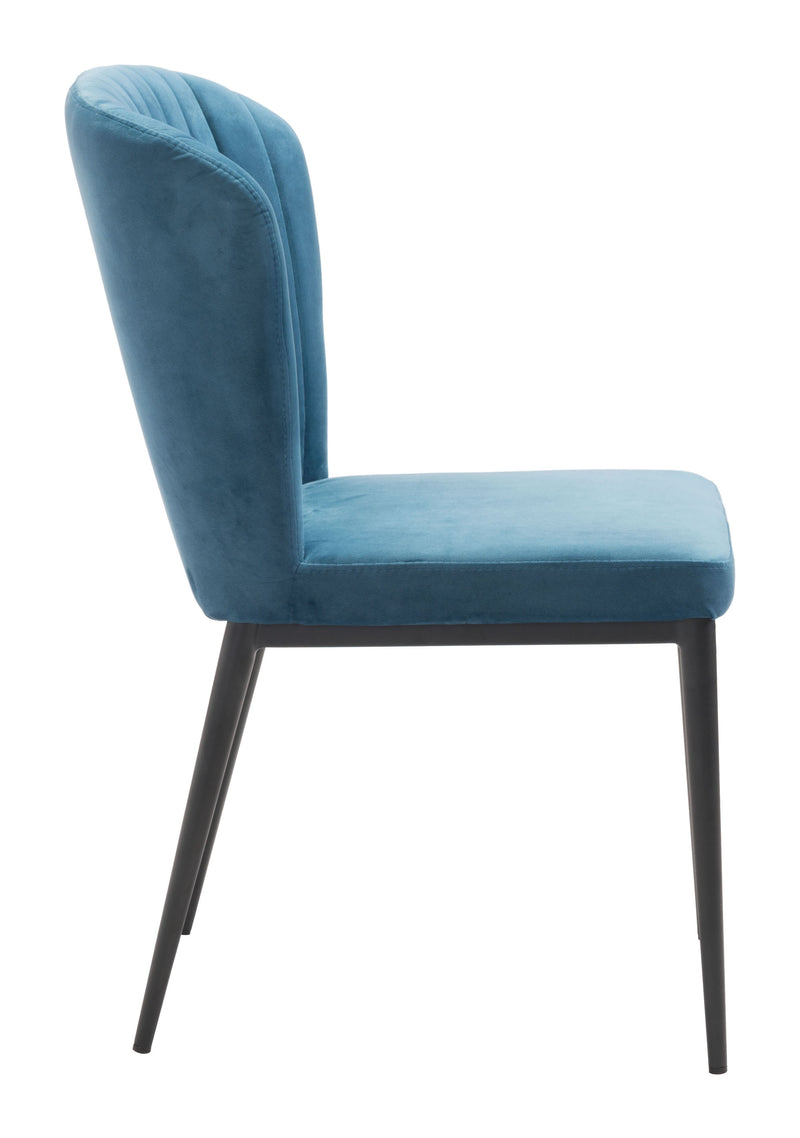 Fashionable Teal Blue Tufted Velvet Dining or Side Chairs Set of 2