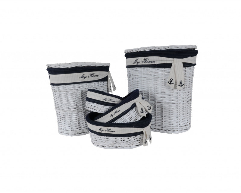 "14.5"" x 20"" x 23"" WhiteBlueOvalWillow Basket Set of 5 - RichRange 