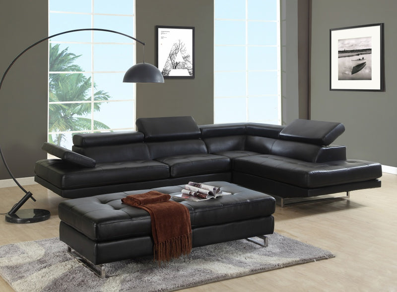 "124"" X 94"" X 36"" Black Sectional RAF"