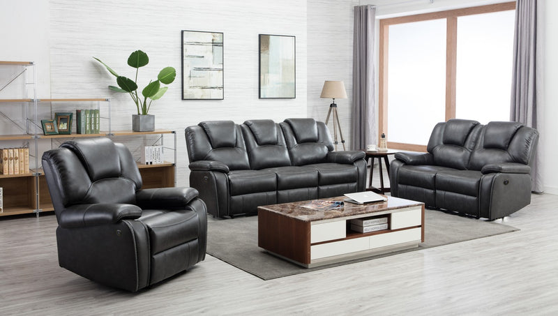 "185"" X 114"" X 120"" Gray Power Reclining Sofa Set"