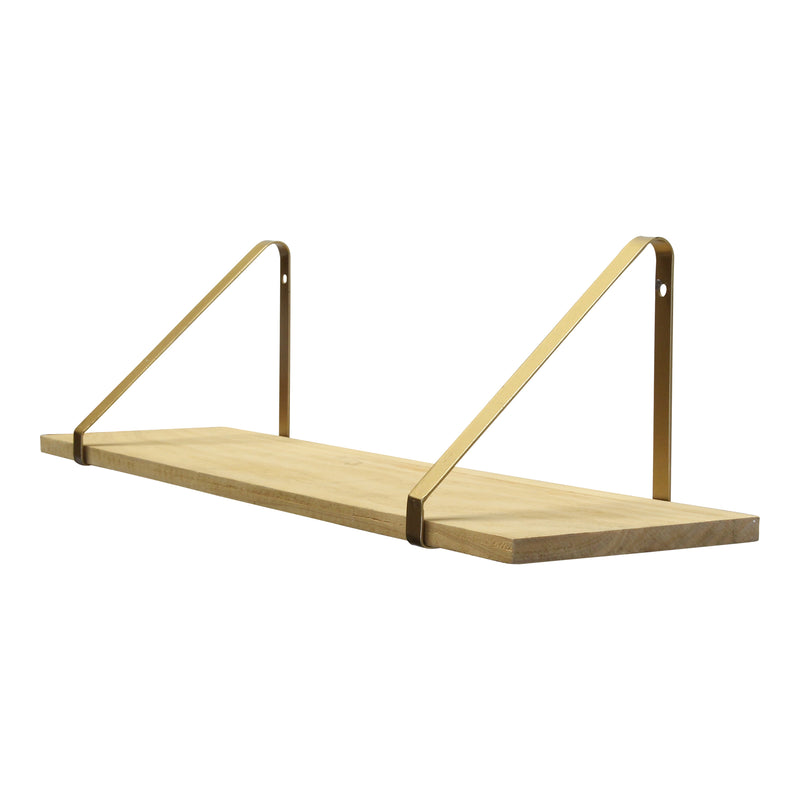Gold Natural Wood Shelf