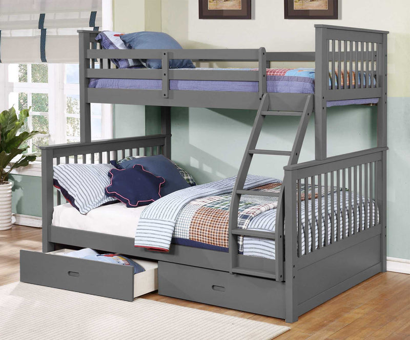 Contemporary Grey Finish Twin over Full Bunk Bed with Storage