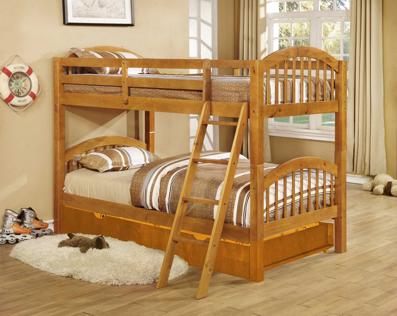 Natural Oak Finish Twin over Twin Arched Wood Bunk Bed with Trundle