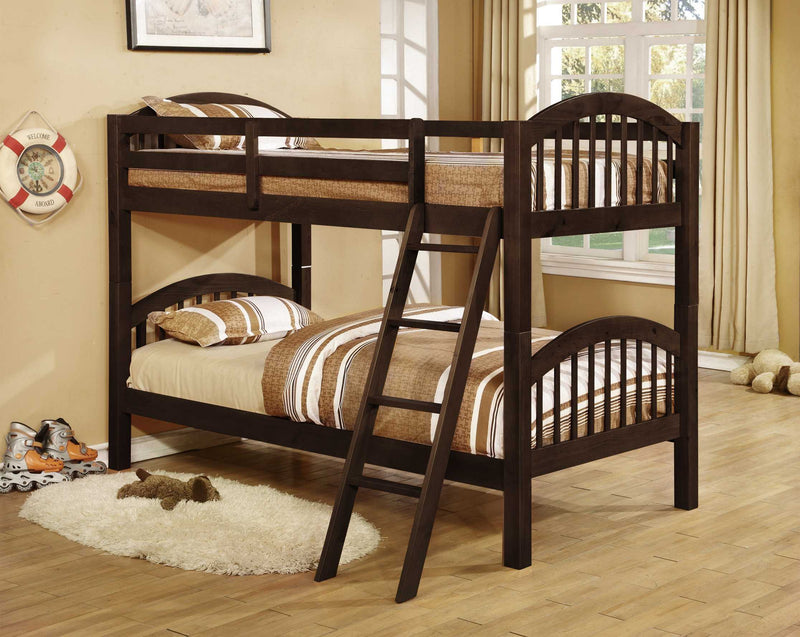 Traditional Dark Brown Finish Twin over Twin Arched Wood Bunk Bed