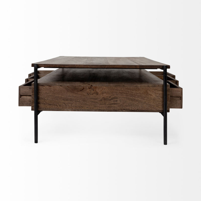 Rectangular Solid Wood and Black Metal Coffee Table w- 3 Drawers