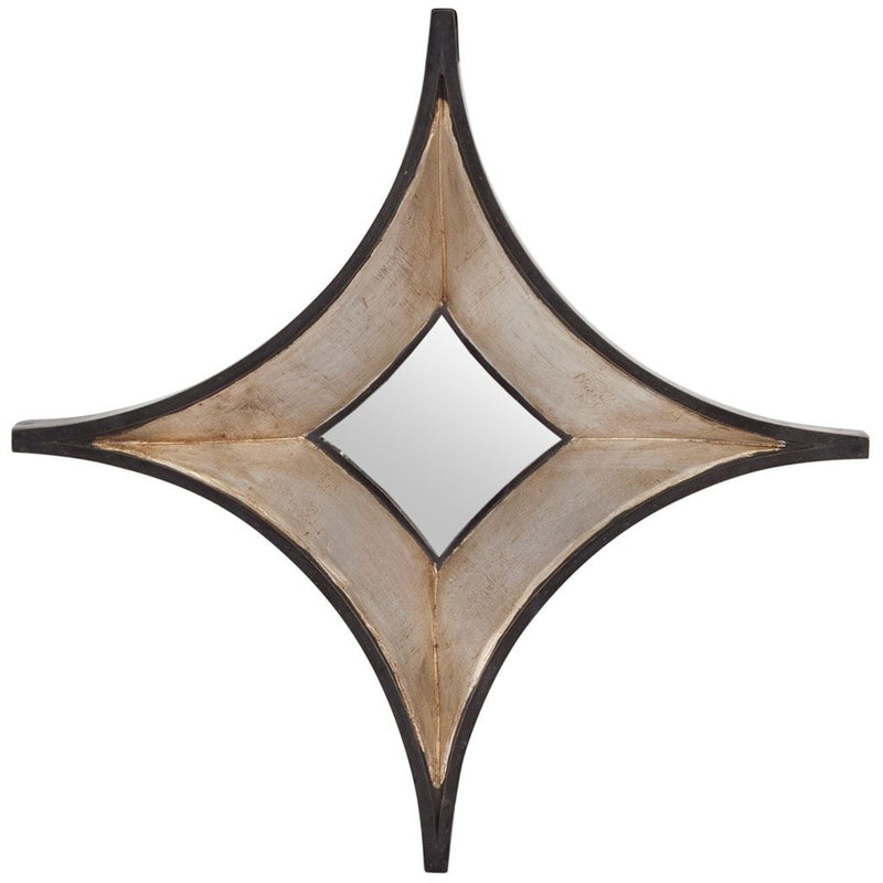 Star Champagne Wood Frame Wall Mirror