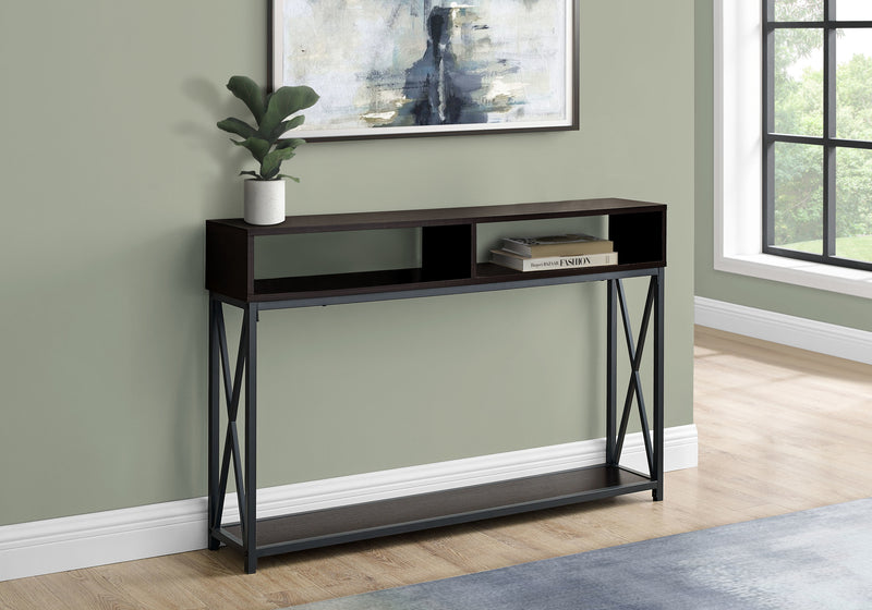 "48"" Rectangular EspressowithBlack Metal Hall Console with 2 Shelves Accent Table"