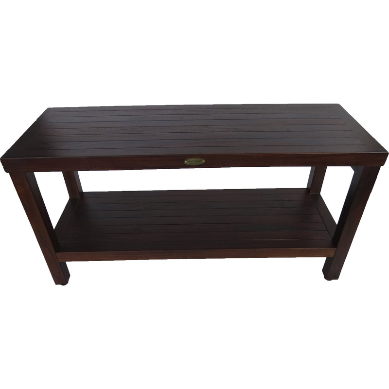 Rectangular Teak Shower Outdoor Bench with Shelf in Brown Finish