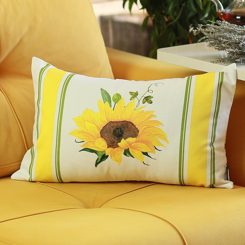 "Set of 2 20"" Fall Sunflower Lumbar Pillow Cover in Multicolor"