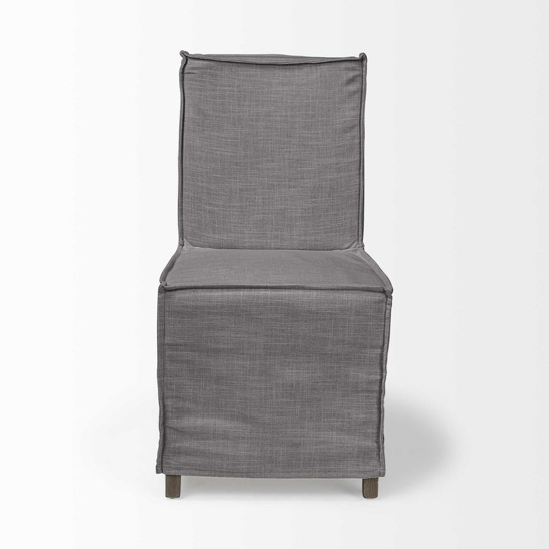 Grey Fabric Slip Cover with Brown Wooden Base Dining Chair