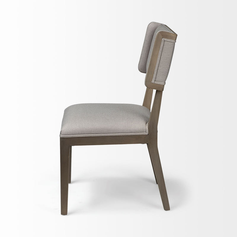 Grey Fabric Seat with Brown Wood Frame Dining Chair