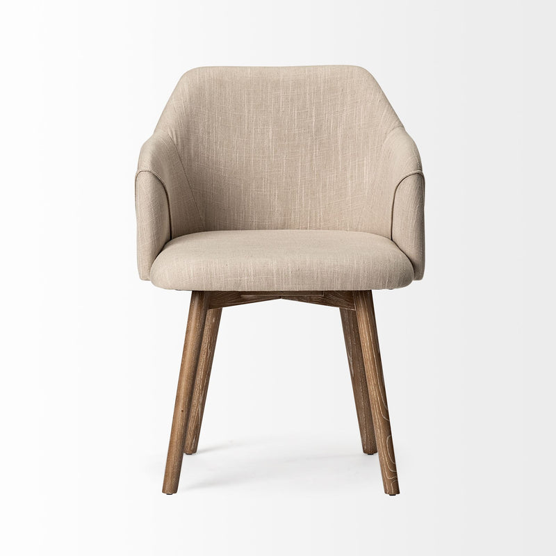 Cream Fabric Wrap with Brown Wooden Base Dining Chair - RichRange | The Best Deals Online: Furniture, Home Decor & More