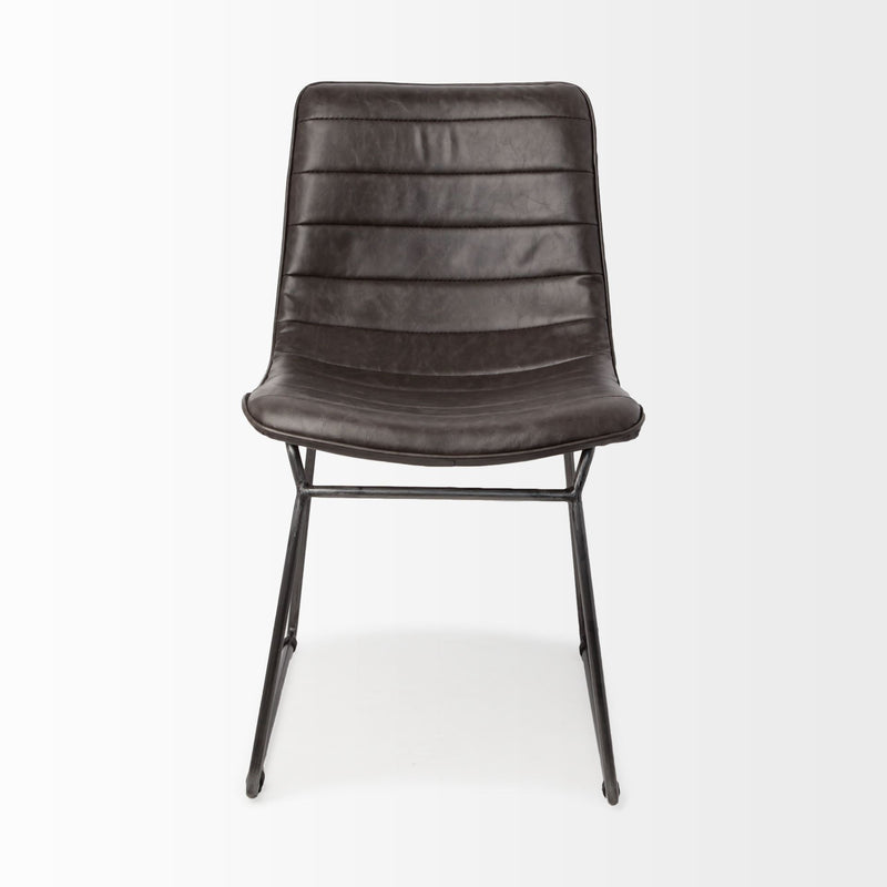 Black Faux Leather Seat with Black Iron Frame Dining Chair