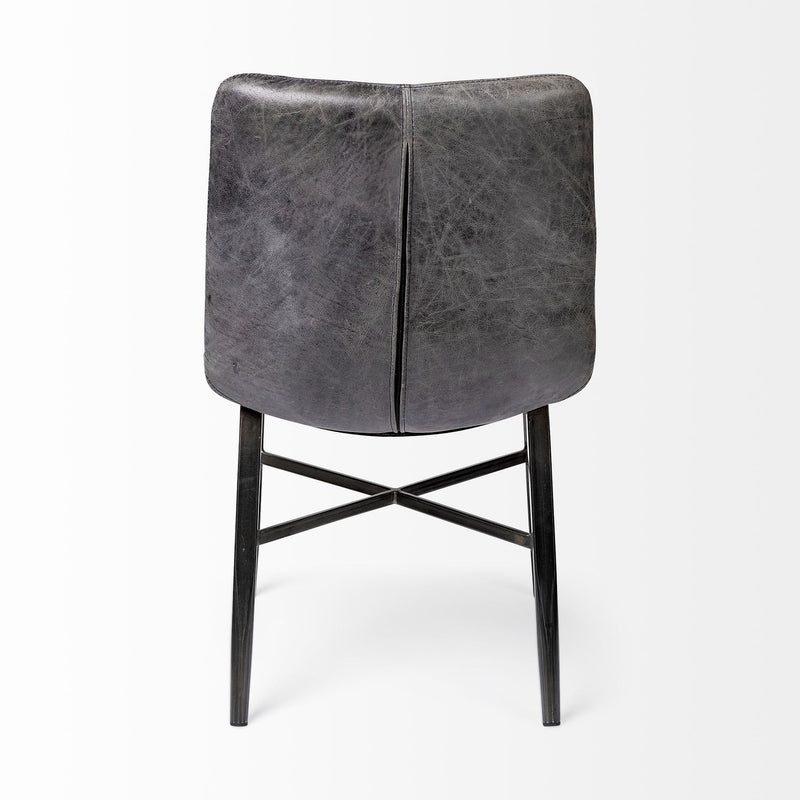 Black Leather Seat with Black Metal Frame Dining Chair - RichRange | The Best Deals Online: Furniture, Home Decor & More