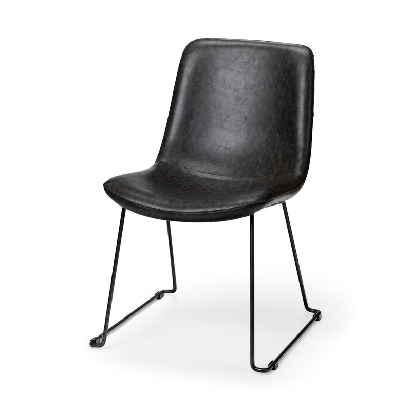 Black Faux Leather Seat with Black Iron Frame Dining Chair - RichRange | The Best Deals Online: Furniture, Home Decor & More