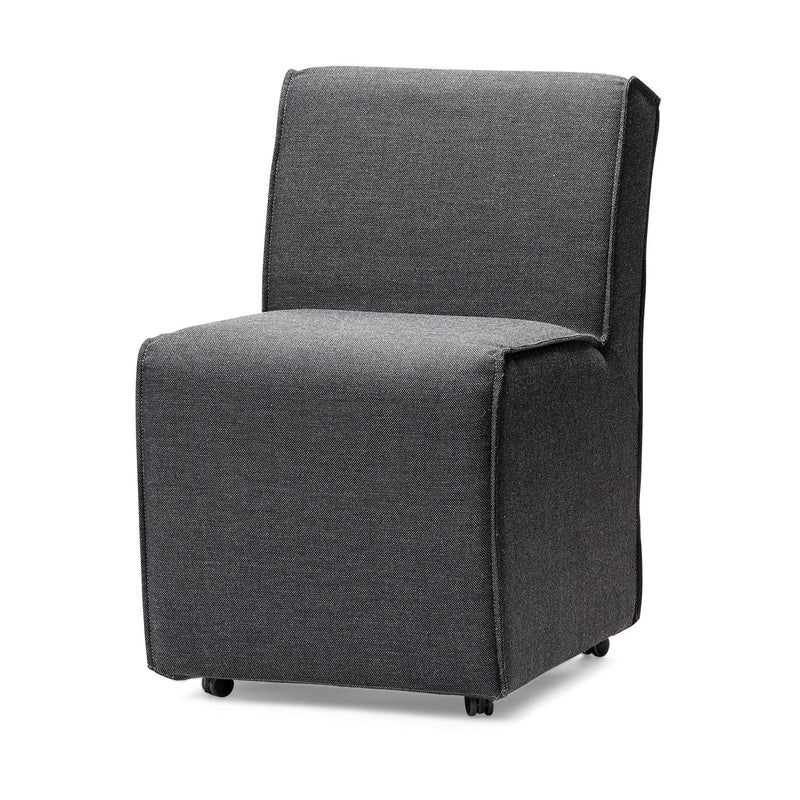 Fully Upholstered Grey Fabric Dining Chair on Casters