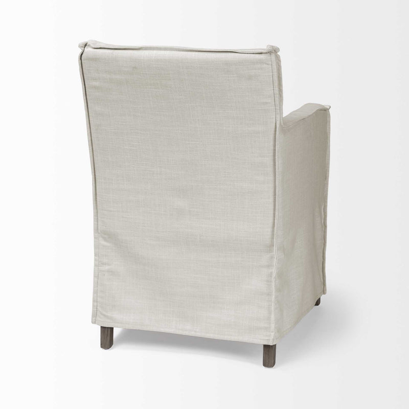 Cream Fabric Slip Cover with Brown Wood Frame Dining Chair