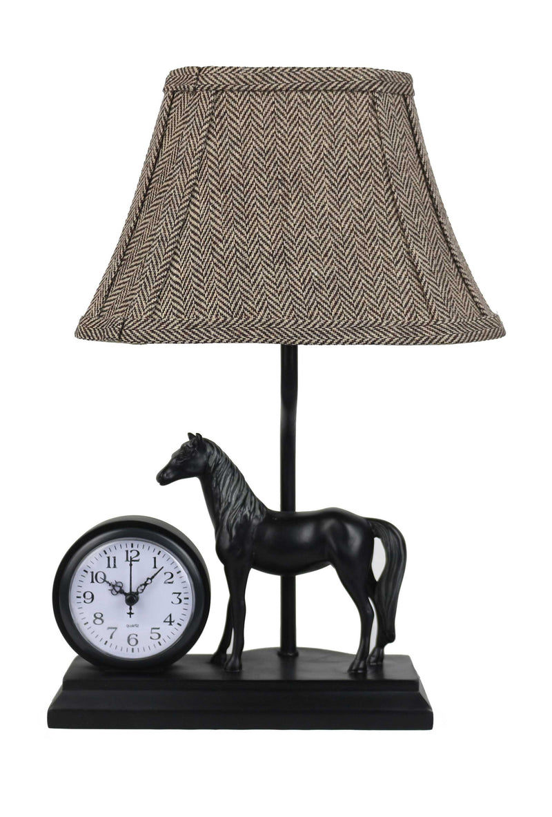 Clock and Horse Accent Lamp with Herringbone Shade