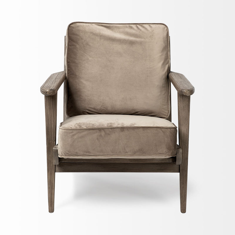 Olive Velvet Accent Chair with Covered Wooden Frame