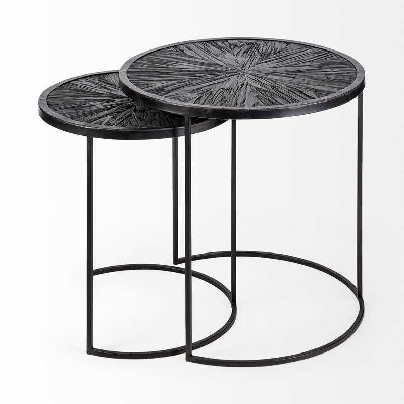 Set of 2 Dark Wood Round Top Accent Tables with Black Iron Frame - RichRange | The Best Deals Online: Furniture, Home Decor & More