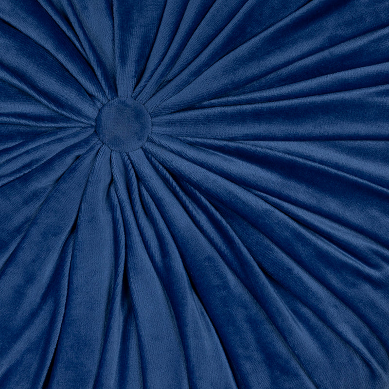 Blue Round Tufted Velvet Pillow