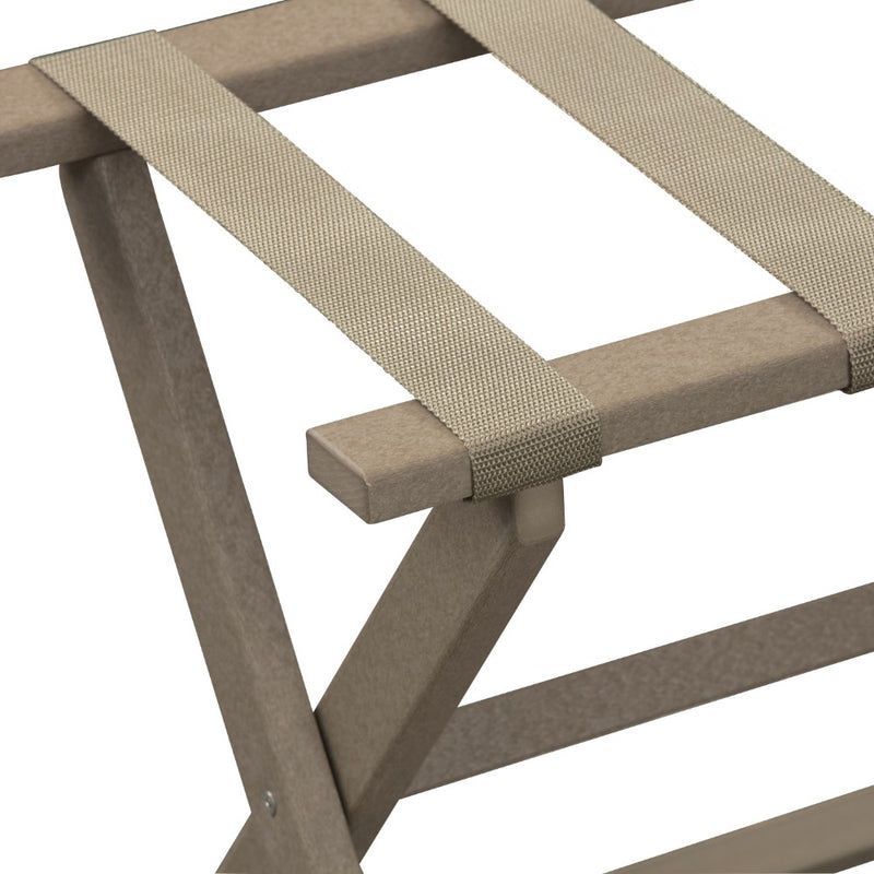 Taupe ECO Straight Leg Luggage Rack with 4 Beige Nylon Straps