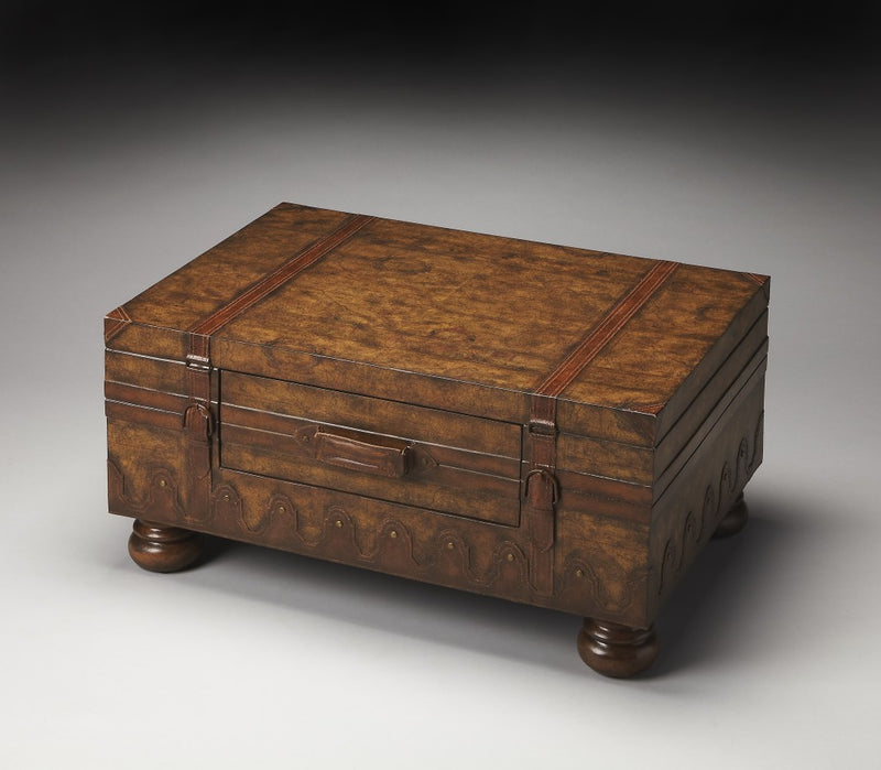 Traditional Style Laminated Trunk Table with Center Storage Drawer