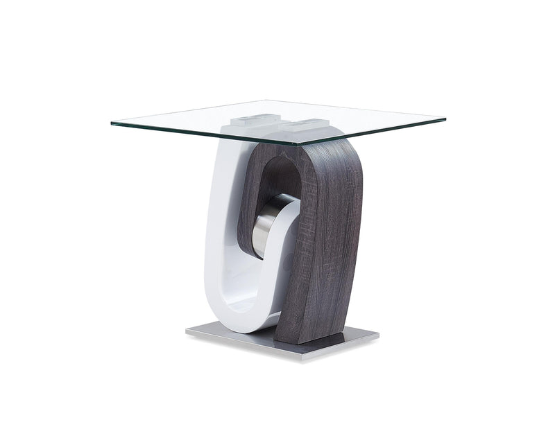 White and Dark Grey Ultra modern Glass top End Table