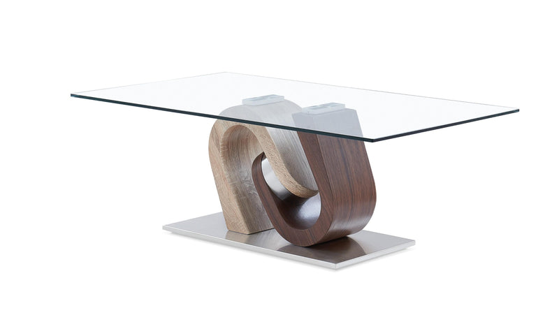Oak and Walnut Ultra modern Glass top Coffee Table