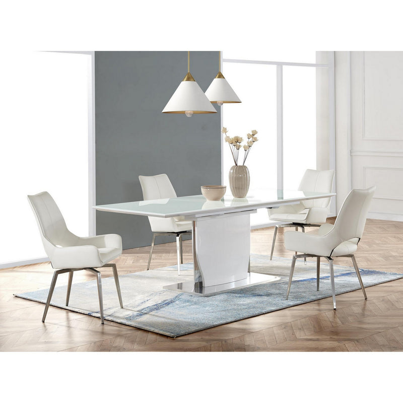 White tone with Pedestal style base Dining Table