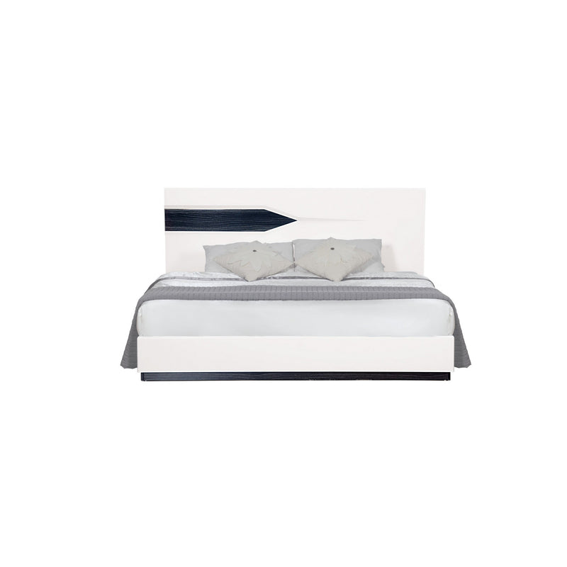 White Tone QueKingen Bed with Dark Grey Zebrano details On Headboard and Bottom Rail Accent