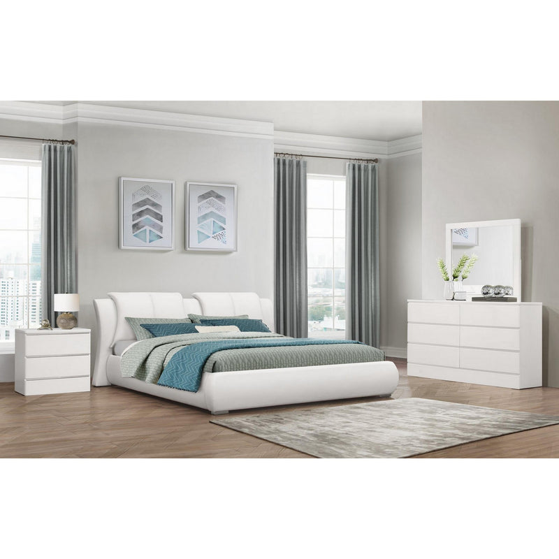 White Faux Leather Queen Bed in Curved Padded Headboard