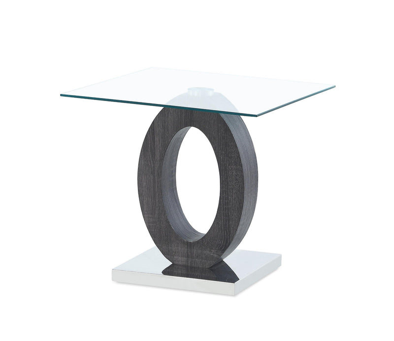 Grey Tone Oval Design Support End Table with Glass Top