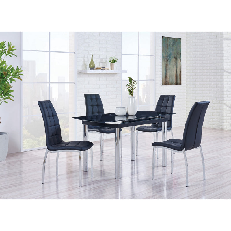 Set of 4 Black Curved Back Dining Chairs with Chrome metal Legs