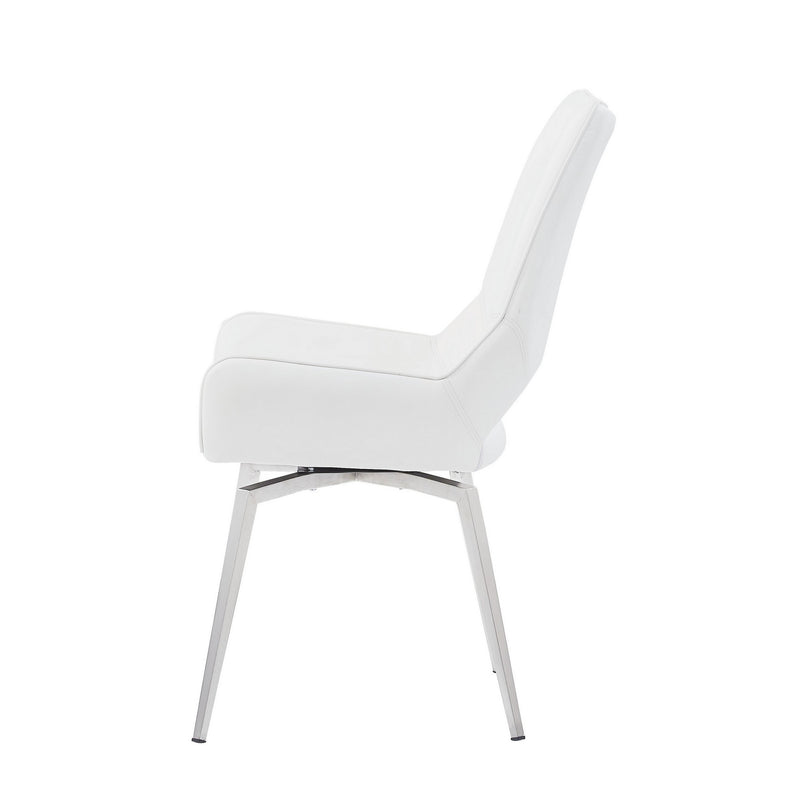 Set of 2 White Bucket Style Dining Chairs with Metalic Silver Base