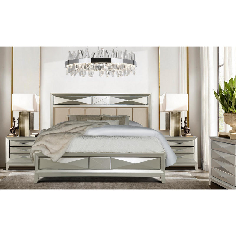 Modern Champagne Full Bed with Satin Upholstered Headboard Mirror Accents
