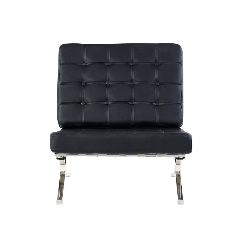 Black Chair with Wide Spacious Seat and Button Tufted Details