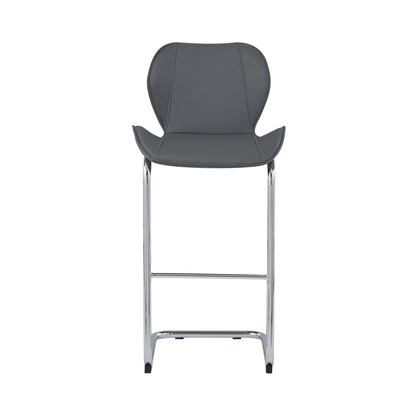 Set of 4 Modern Grey Barstools with Chrome Legs