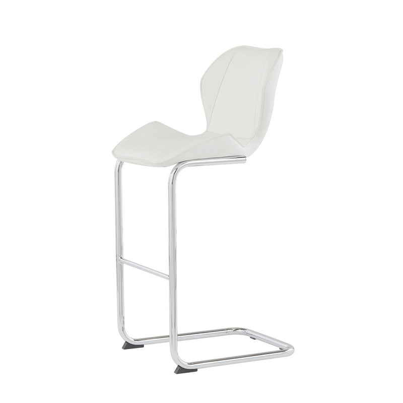 Set of 4 Modern White Barstools with Chrome Legs