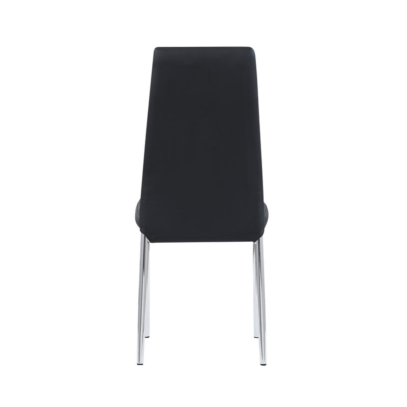 Set of 4 Modern Black Dining Chairs with Chrome Metal Base
