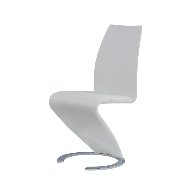 Set of 2 White Z Shape design Dining Chairs with Horse Shoe Shape Base
