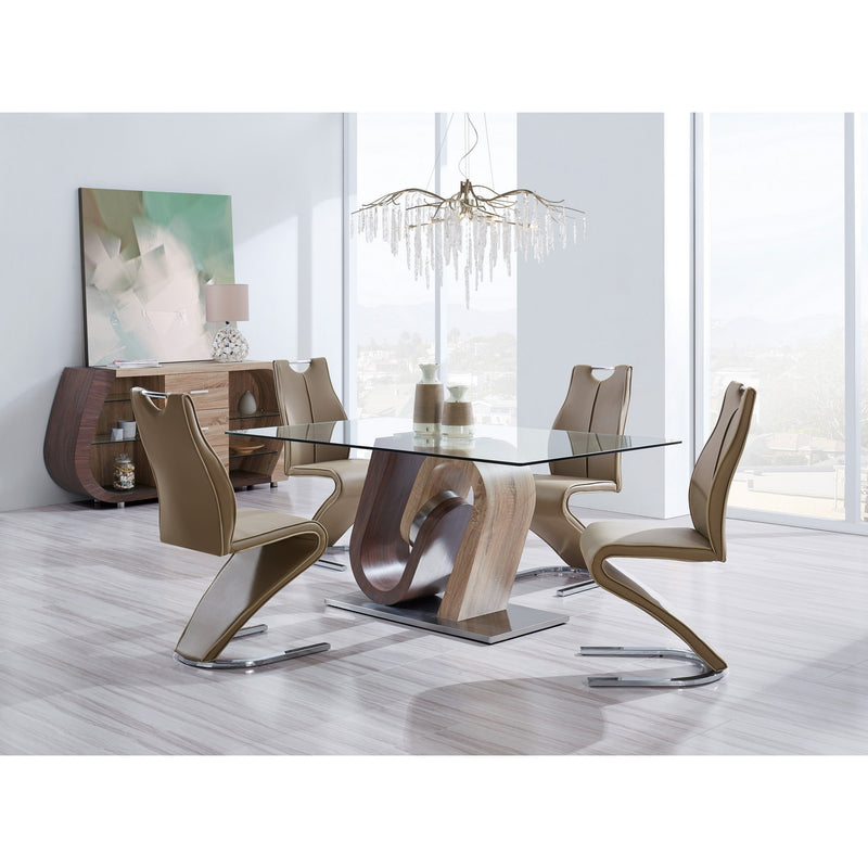 Set of 2 Cappucino and Light Cappucino Z style design Dining Chairs with Metalic Base and Seat Back Handle