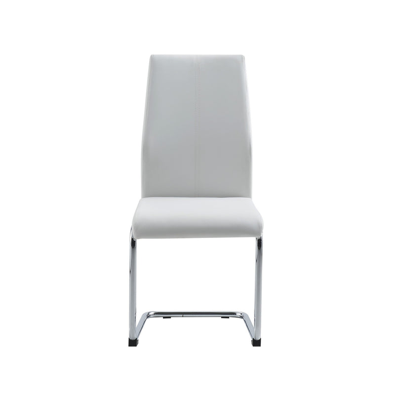 Set of 4 Modern White Dining Chairs with Chrome Metal Base